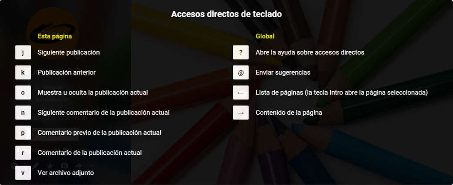 Accesos directos de teclado para Google Plus