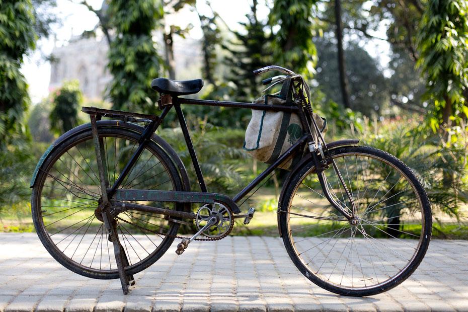 Ein Fahrrad, alltäglich und überall in der Welt zu finden, Lodhi garden, Indien