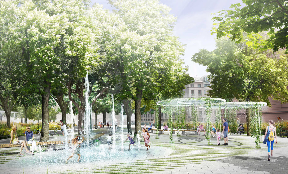 Visualisierung des Cooling-Parks, auch der Coolspot ist zu sehen (c) Landschaftsarchitekturbüro Lo, 1030 Wien