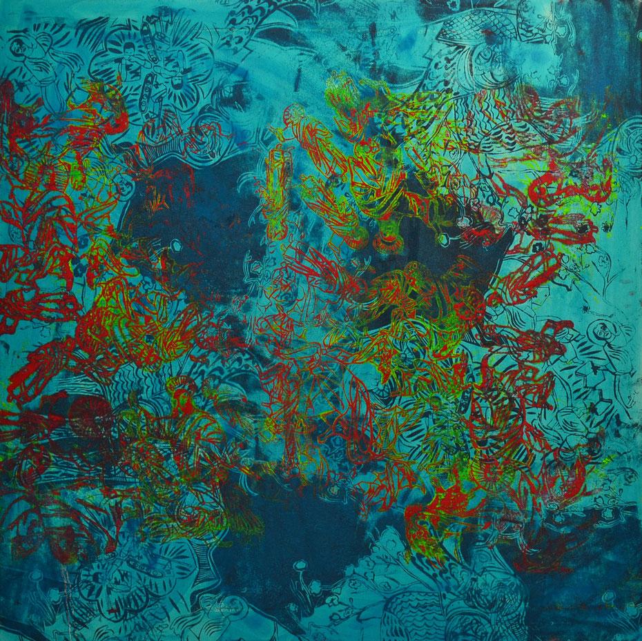 """""""Voulez-vous"""", 2013, 140 x 140 cm, Öl auf Leinwand"""