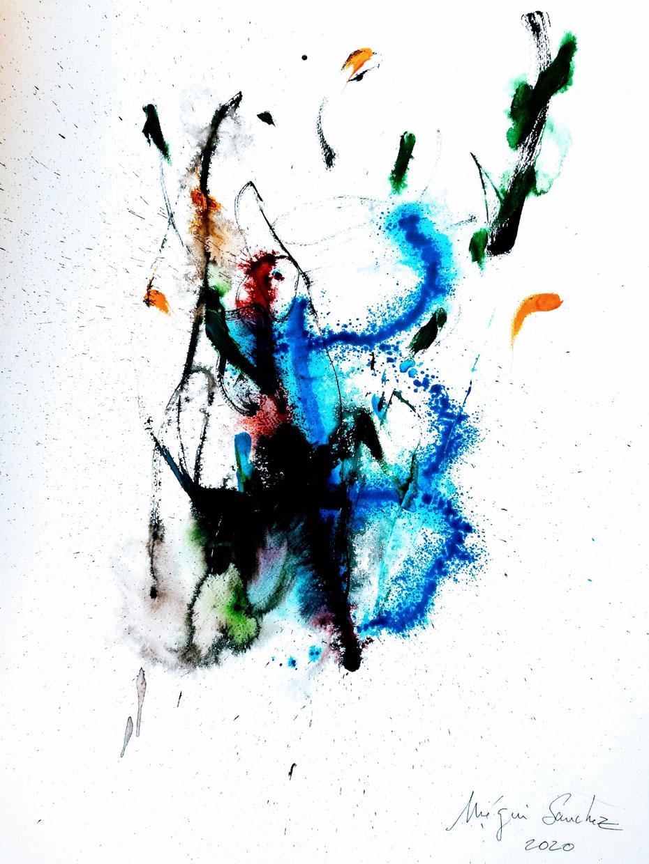 Ppr.5  Dessin couleur encre acrylique sur papier Canson format 50/70.