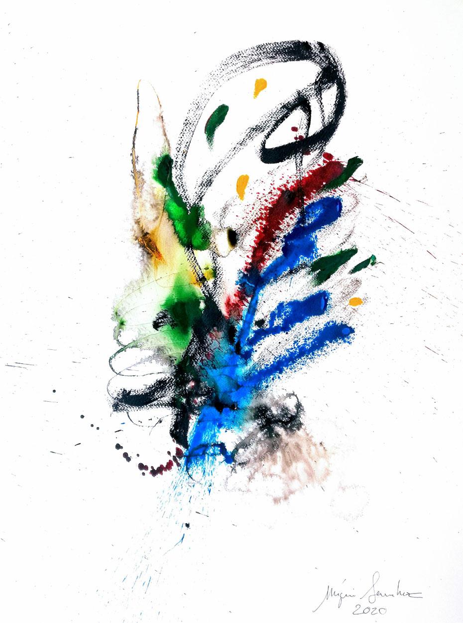 FL.130 Dessin couleur encre acrylique sur papier Canson format 50/70.