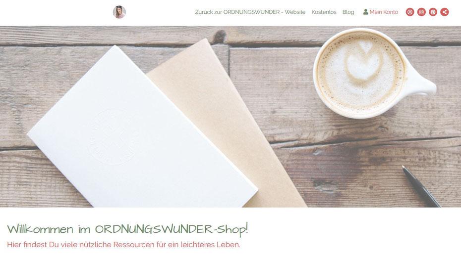 Ordnungswunder-Shop: nützliche Ressourcen für mehr Ordnung, Klarheit und ein leichteres Leben