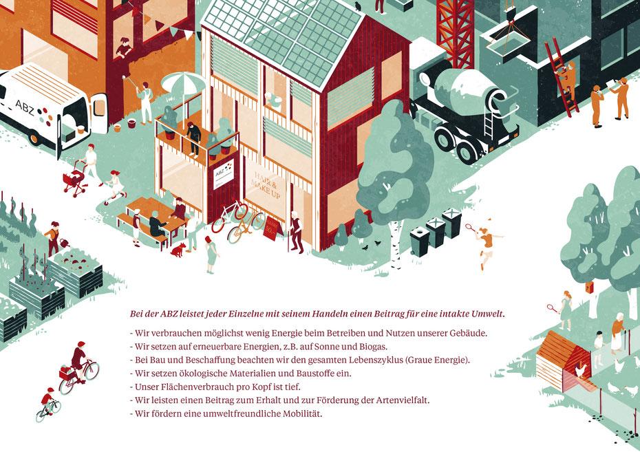 Illustration zum Ökologie-Konzept von ABZ © Michael Stünzi