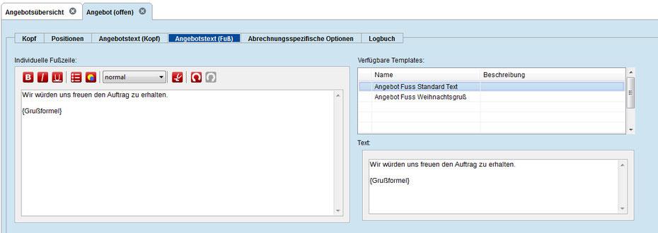 Ein weiterer Standard Textbaustein wird im Fussbereich verwendet (mit Systemvariable Grußformel).