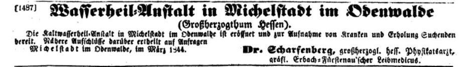 Anzeige in der Münchner Zeitung 1844 kurz nach der Eröffnung