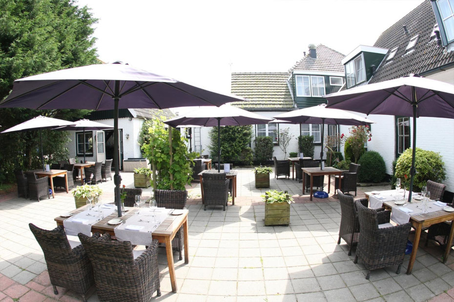 """<img src=""""image.jpg"""" alt=""""Het fraaie terras van """"Brasserie Rebecca"""" in De Waal op Texel."""">"""