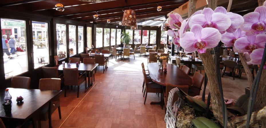 """<img src=""""image.jpg"""" alt=""""Interieur van restaurant orangerie 't Vogelhuis, De Koog, Texel."""">"""