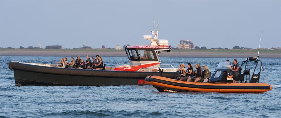 """<img src=""""image.jpg"""" alt=""""Twee RIB boten van Bruuzer uit Oudeschild voor de kust van Texel"""">"""