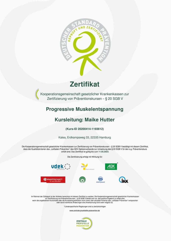 ZPP Zertifikat Progressive Muskelentspannung PME Krankenkassenzuschuss Kostenübernahme Kalea Krankenkasse