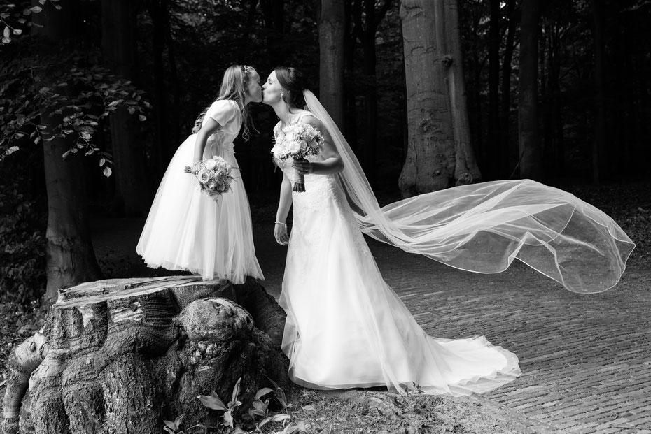 bruidsmeisje bruid sluier