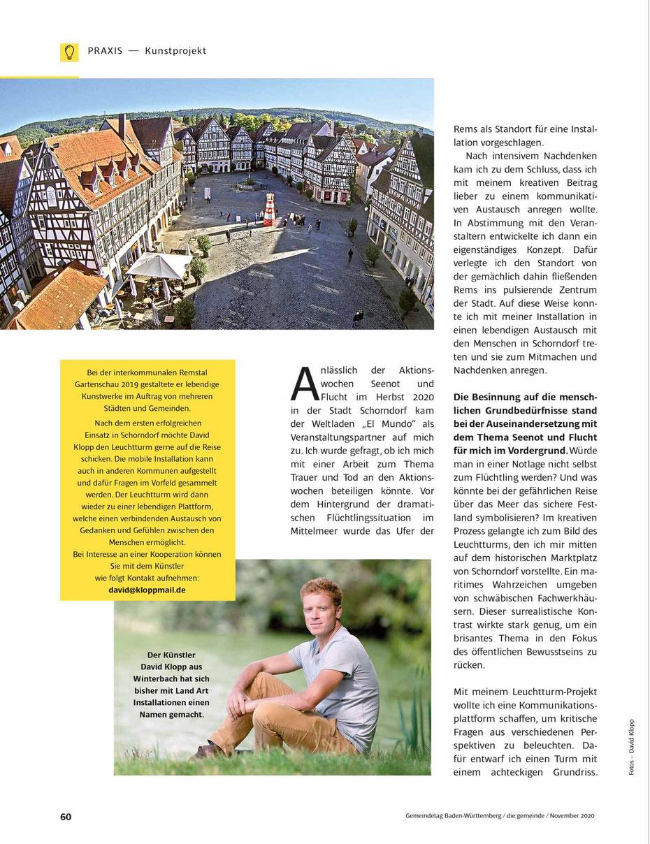 David Klopp | das Leuchtturm Projekt | die:gemeinde, Nov/2020 | Leuchtturm soll Brücken bauen