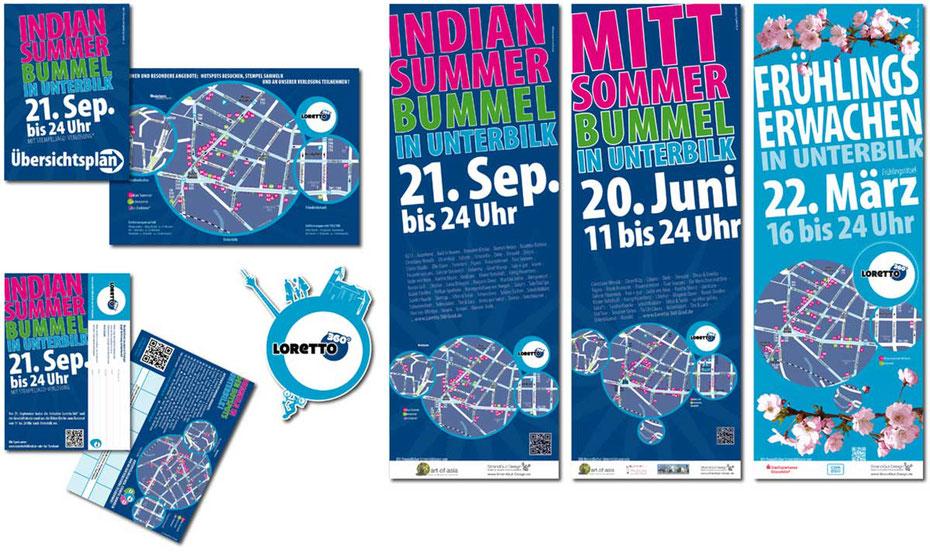 Faltplan, Stempelkarte, Loretto 360 Grad Logo, Plakate – Strandgut Design
