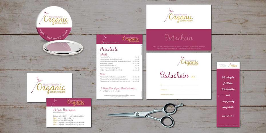 Gezeigte Produkte: Handspiegel, Visitenkarte, Preisliste, Gutschein, Weihnachtskarte zur Kerze