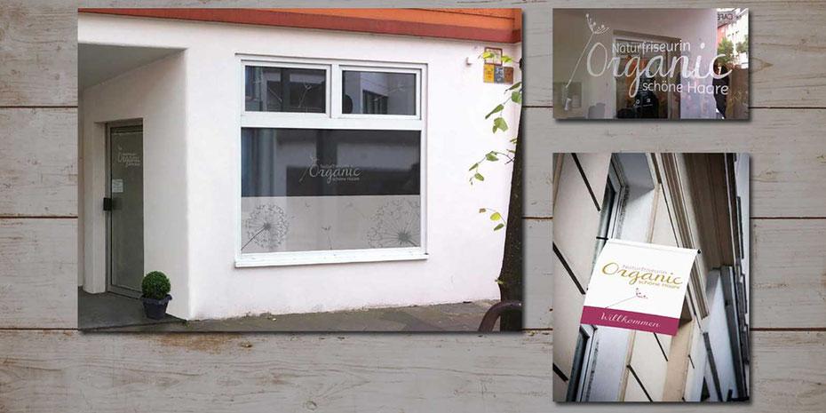 Ansicht der Schaufenstergestaltung des ersten Salons auf der Bilker Allee. Dekorglasfolie und Fensterfahne