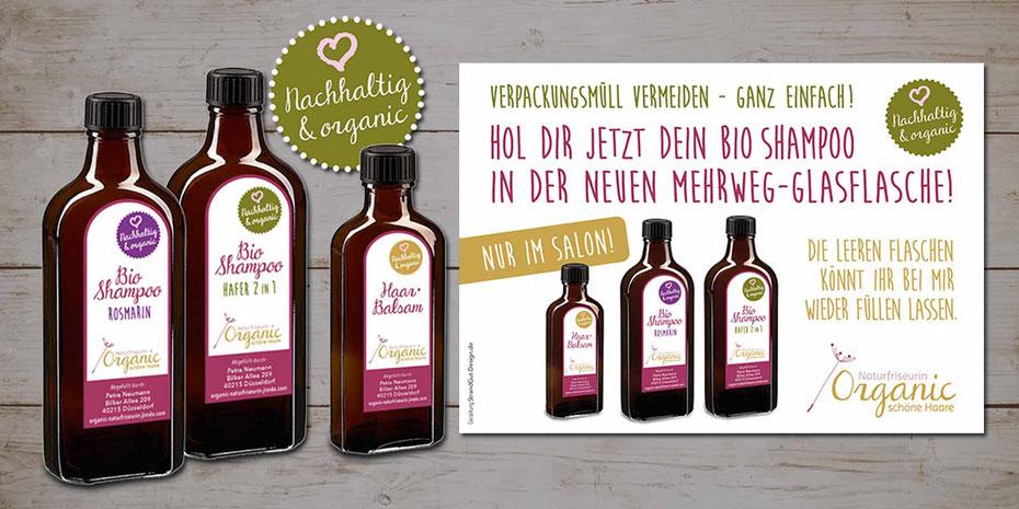 Ansicht der Nachfüllflaschen mit eigenen Etiketten und dem Werbeplakat