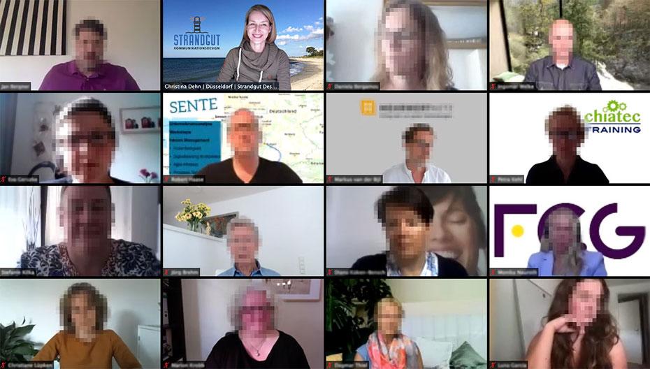 """Screenshot einer Zoom-Veranstaltung mit """"Strandgut Design"""""""