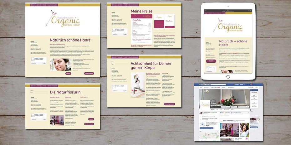 Ansicht der Website aus dem JIMDO-Baukasten in PC- und Tablet-Ansicht, sowie der Fanpage auf Facebook