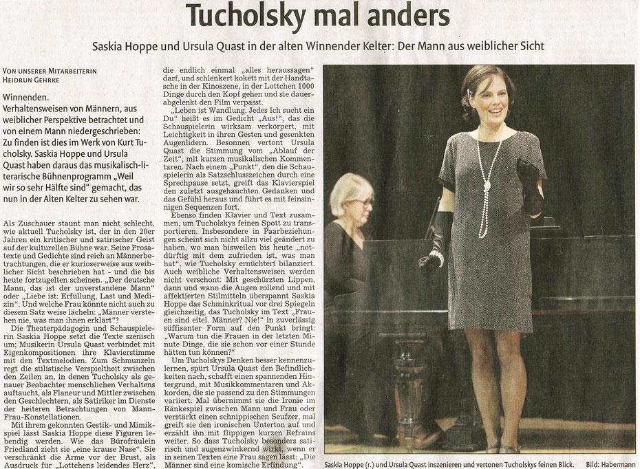 Saskia Hoppe Weil wir so sehr Hälfte sind - eine szenische Collage mit Texten von Kurt Tucholsky
