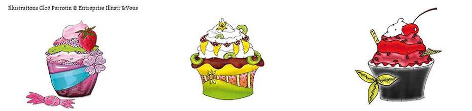 3 cupcakes fruités illustrés par Cloé Perrotin pour l'artiste Peggy Jeannot, sur le BLOG : la Bulle Ludique Originale Gratuite