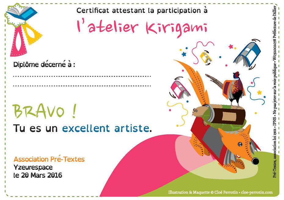 Diplôme illustré réalisé par la graphiste illustratrice Cloé Perrotin pour l'atelier Kirigami pour l'association Pré-Textes en 2016