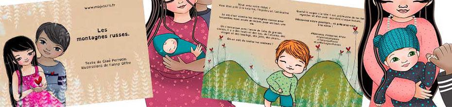 Bandeau de la fiche du livre numérique gratuit Les montagnes russes écrit par Cloé Perrotin illustré par Fanny Offre paru chez Majuscrit