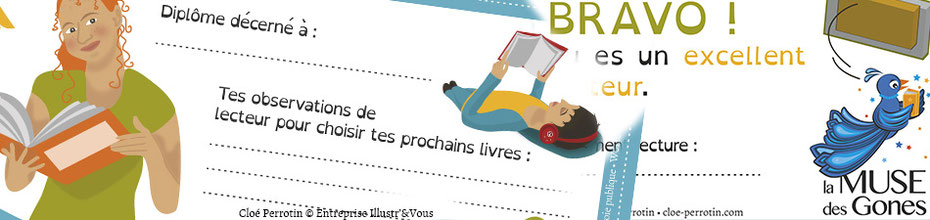 Bandeau annonçant l'article du diplôme illustré de Cloé Perrotin pour l'association La Muse des Gones et ses activités littéraires