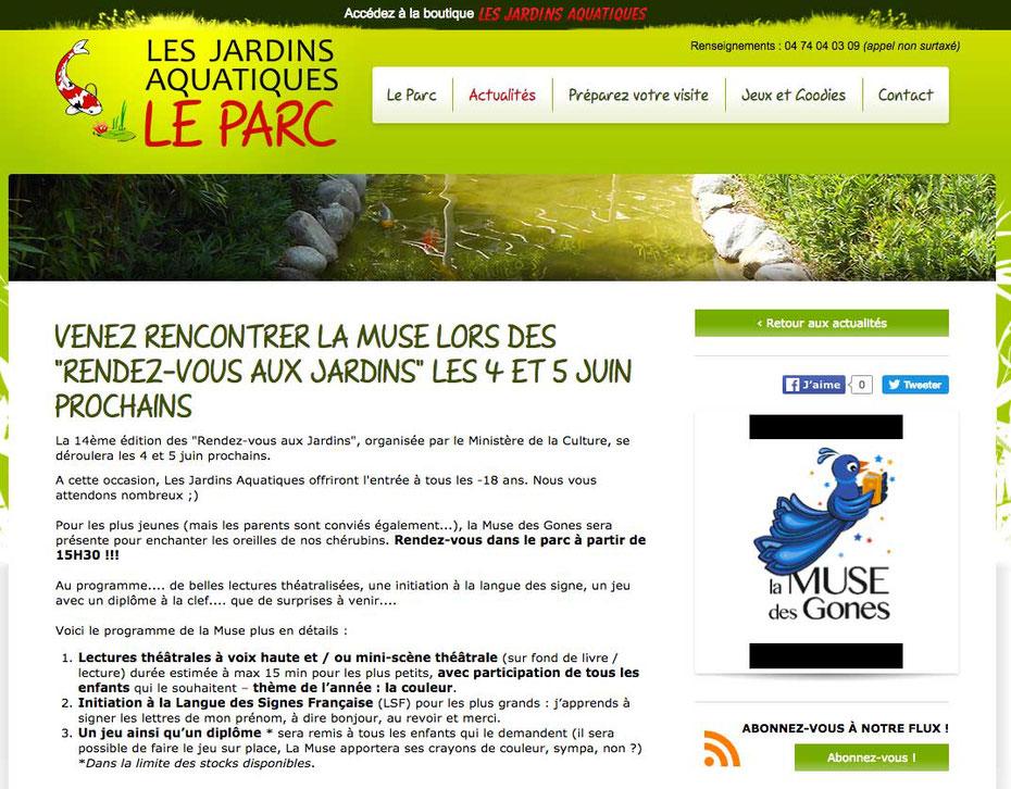 Capture d'écran de l'annonce de la distribution des jeux et diplômes illustrés réalisés par Cloé Perrotin lors des Rendez-vous aux jardins 2016 au Parc des Jardins Aquatiques