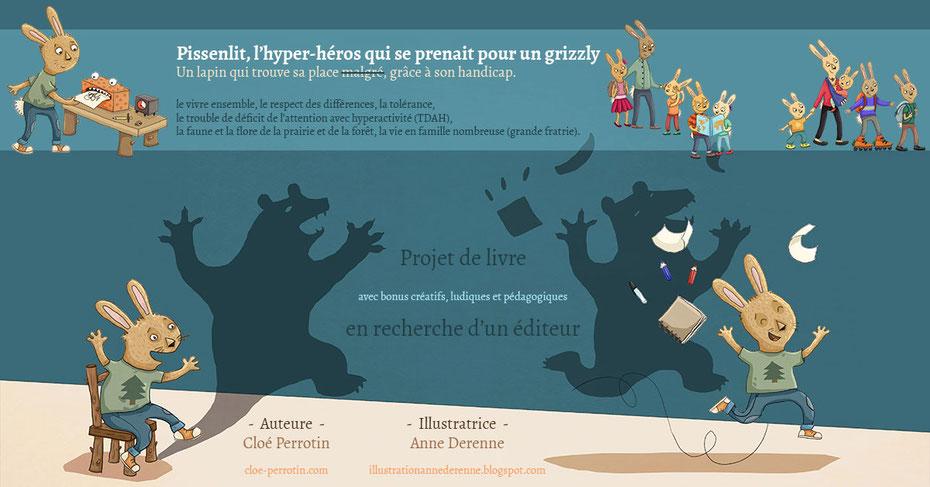 Présentation bleue du projet de livre Pissenlit, l'hyper-héros qui se prenait pour un grizzly en recherche d'un éditeur