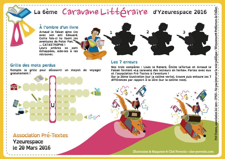 Jeux illustrés réalisé par la graphiste illustratrice Cloé Perrotin pour l'association Pré-Textes en 2016