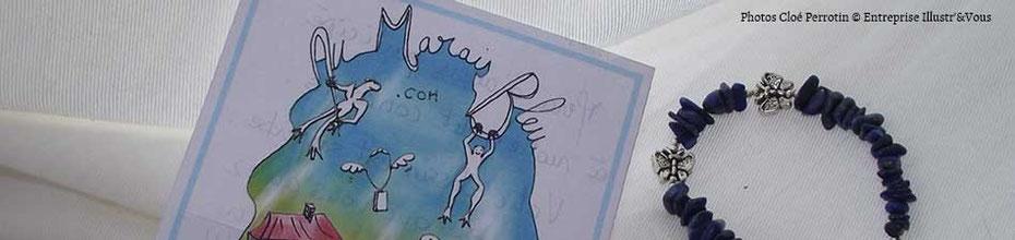Cloé Perrotin réalise une illustration personnalisée pour une e-boutique de bijoux en pierres naturelles, sur le BLOG : la Bulle Ludique Originale Gratuite