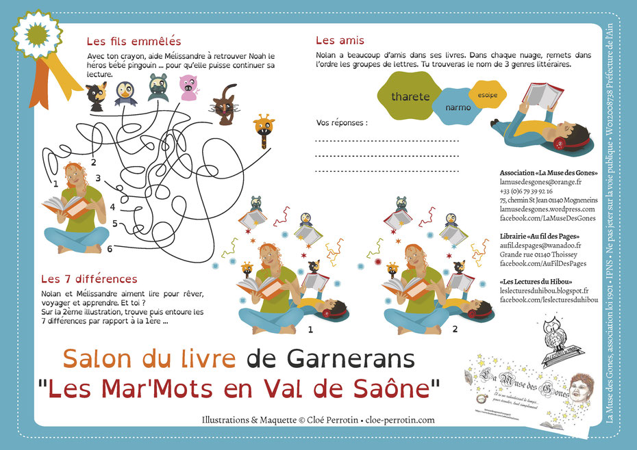 Jeux illustrés réalisés par la graphiste illustratrice Cloé Perrotin pour l'association La Muse des Gones et son Salon du Livre en 2016