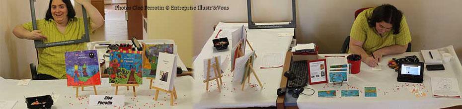 Le stand Web et Print de l'illustratrice Cloé Perrotin à la Caravane Littéraire de Dompierre-sur-Besbre via l'association Pré-Textes