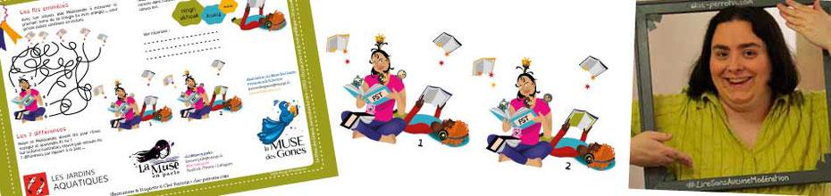 Bandeau annonçant l'article des jeux illustrés de Cloé Perrotin pour la chroniqueuse animatrice La Muse en parle et ses activités littéraires