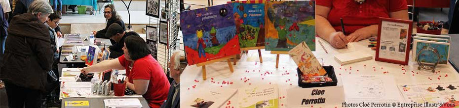 L'illustratrice Cloé Perrotin et les lecteurs à son stand lors de la 6ème Caravane Littéraire d'Yzereurepace de l'association Pré-Textes