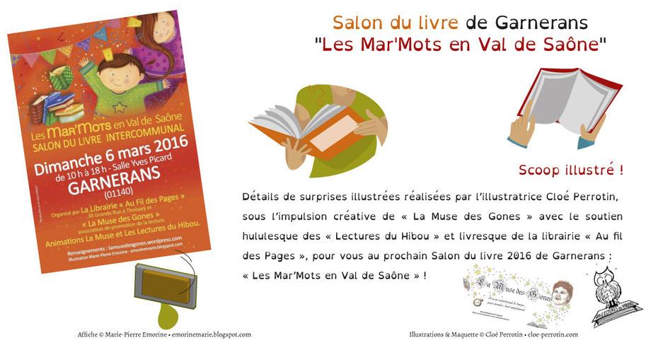 """Détails d'illustrations d'un diplôme et de jeux illustrés réalisées par Cloé Perrotin pour le salon du livre """"Les Mar'Mots en Val de Saône"""" 2016"""