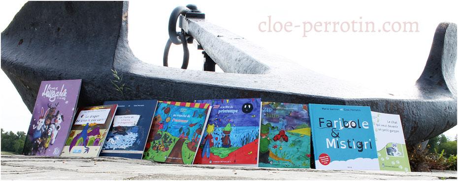Livres de l'illustratrice Cloé Perrotin avec ses éditeurs