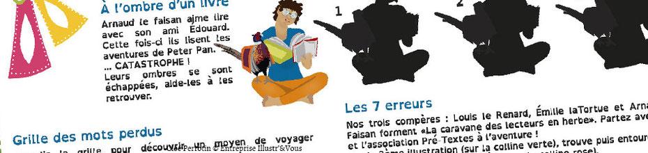 Extraits des jeux illustrés de Cloé Perrotin pour l'association Pré-Textes en 2016