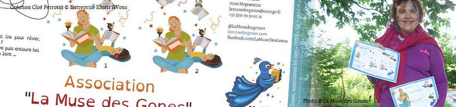 Bandeau annonçant l'article des jeux illustrés de Cloé Perrotin pour l'association La Muse des Gones et ses activités littéraires