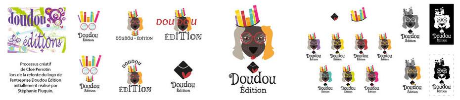 Processus créatif de la graphiste Cloé Perrotin pour la refont du logo de Doudou Edition