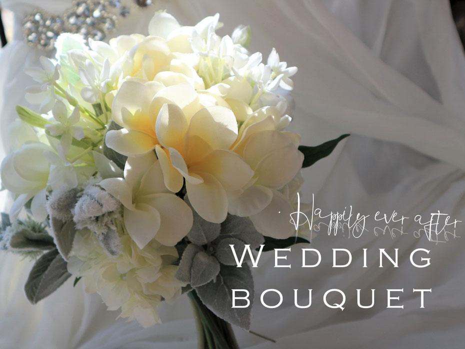 プルメリアのアートフラワー造花の結婚式用ウェディングブーケは海外挙式や前撮りにも人気です
