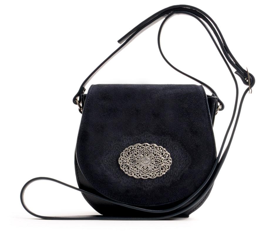 OWA Tracht Ledertasche Trachtentasche blau