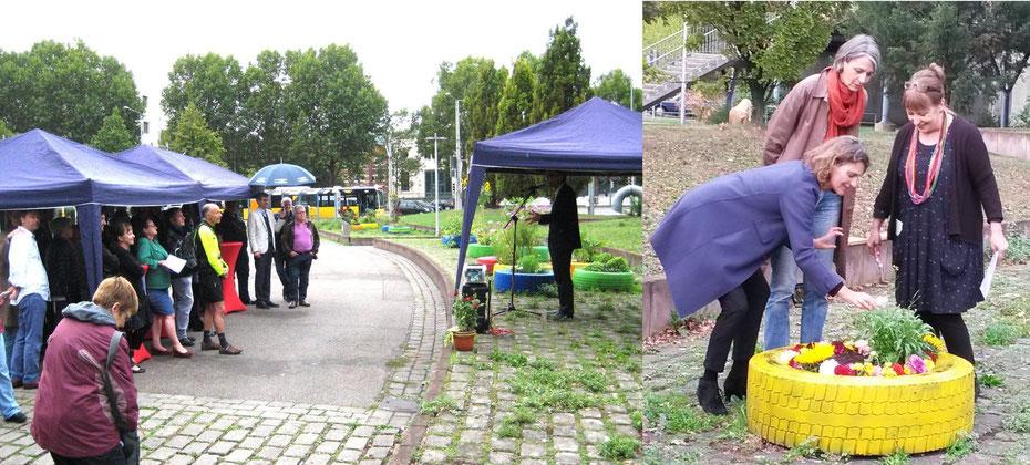 Festliche Einweihung der bunten Reifenbeete - Foto:Blumenstock/Enslin