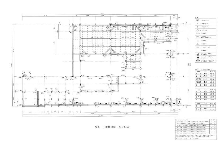 1階床伏図ー土台と耐力壁、接合金物を図示