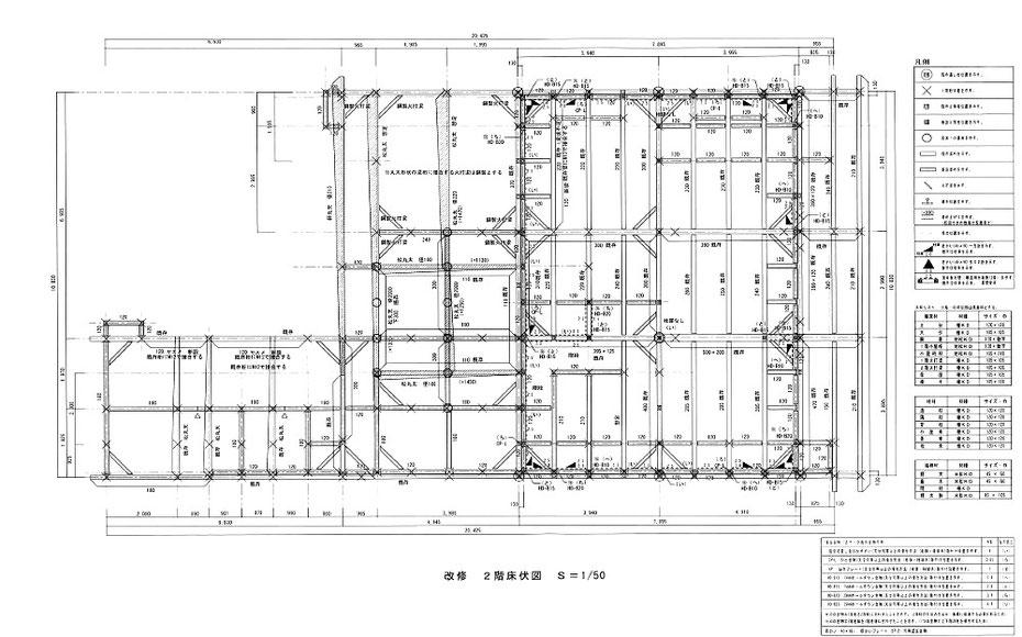 2階床床伏図ー2階床の梁桁材、2階の耐力壁、接合金物などをを図示