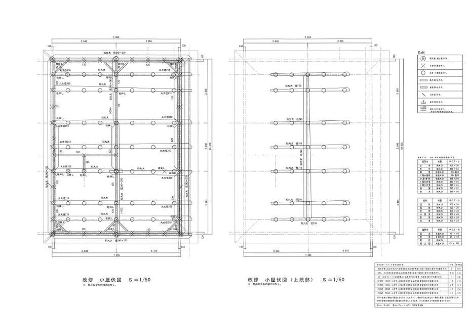 小屋伏図ー梁桁材を図示