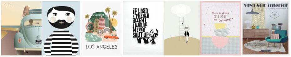 Une sélection d'affiches graphiques sur La Déco d'Hélo, conseil en décoration intérieure à Grenoble