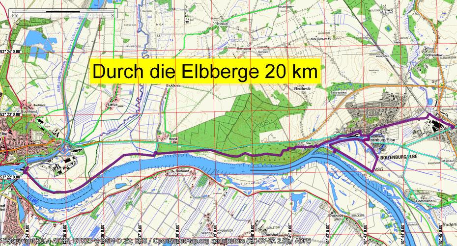Wandern von Mitgliedern des Wandertreff Rostock durch die Elbberge ist ein einmaliges Erlebnis. Man sieht die Zusammenflüsse von Boize, Sude und Elbe.