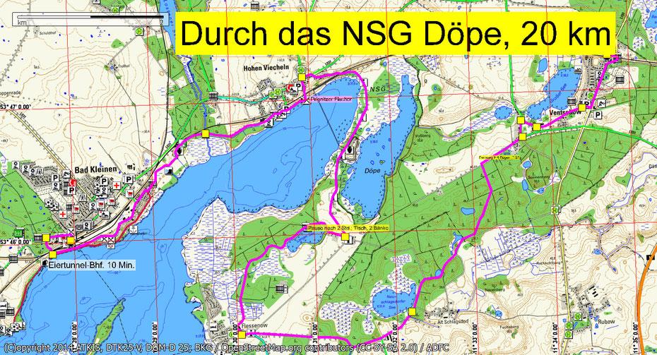 Wandern durch Mitglieder des Wandertreff Rostock durch die Döpe.