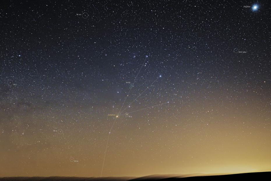 Sternbild Scorpion mit Messier-Objekte